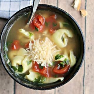 Healthy spinach tortellini soup