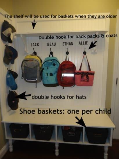 make a mudroom bench backpacks