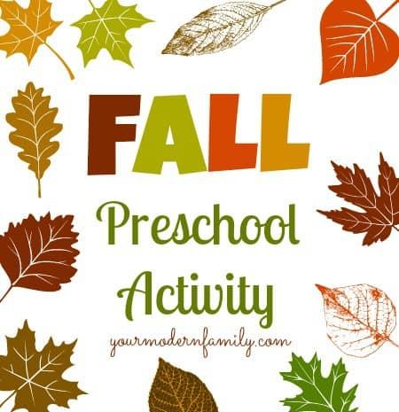 fall preschool activity teach math, science and writing.