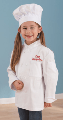 personalized chef jacket SO CUTE!!  (comes in pink & blue too)