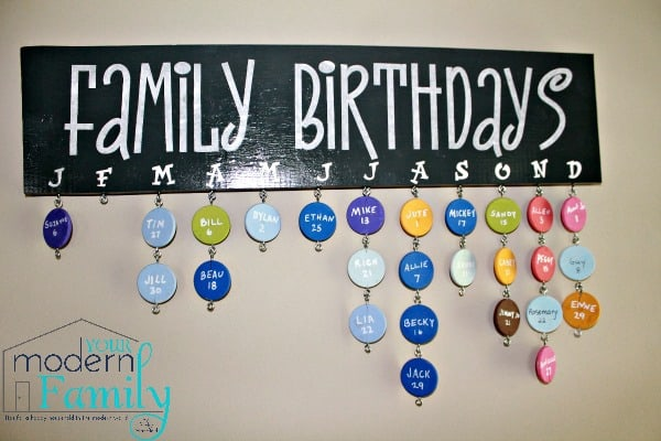 DIY family birthday sign with instructions