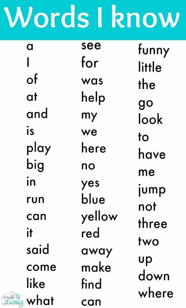 Clean image within kindergarten sight word list printable
