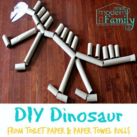 Make a giant dinosaur from toilet paper rolls