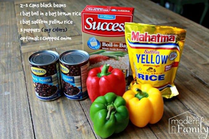 yellow rice, black beans, pepper casserole