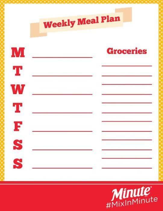 printable meal plan