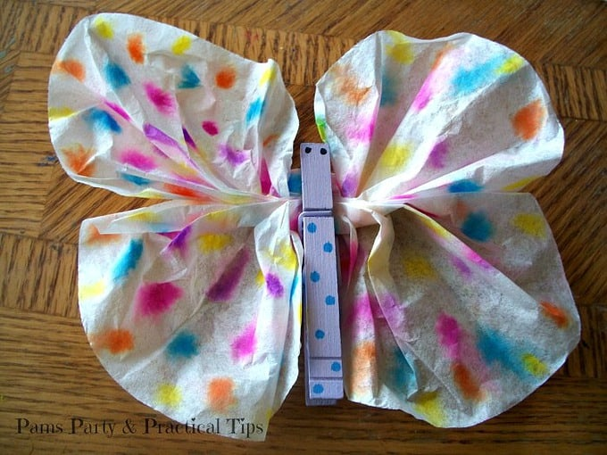 Coffee filter butterfly craft images for Coffee crafts