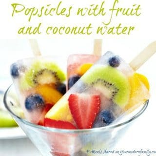 Popsicles with fruit and coconut water