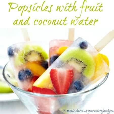 mixed popsicles with fruit and coconut water