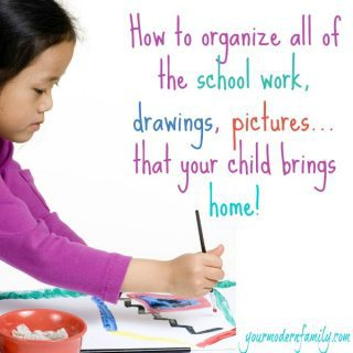 How I organize our kid's school work (projects, drawing, tests) that they bring home.