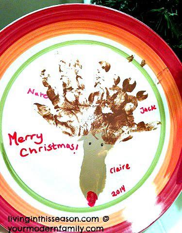 Handprint plates christmas