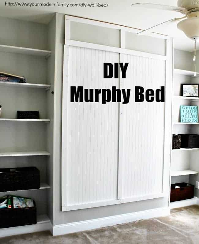 Easy to build diy wall bed for 150 queen murphy bed for Murphy garage doors