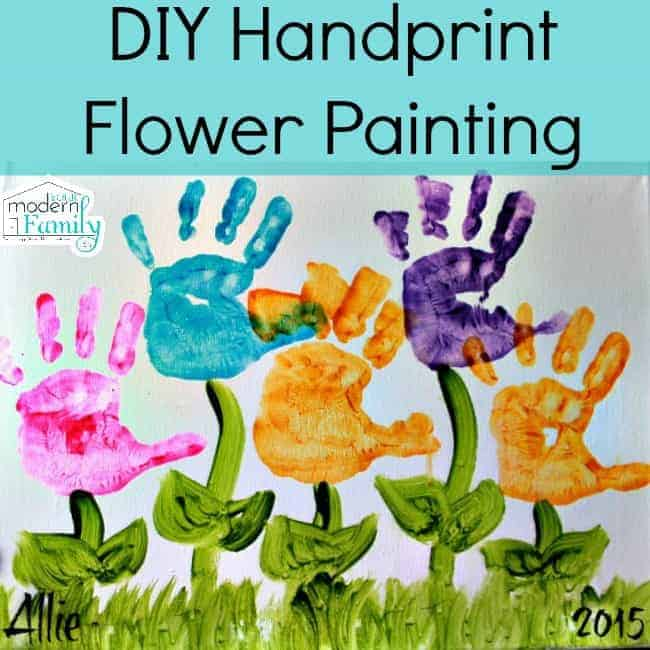 Diy handprint flower painting for Mothers day painting crafts