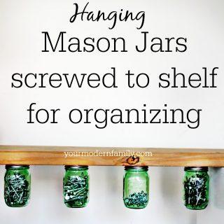 Hanging Mason Jar organizer  (mason jar hack!)