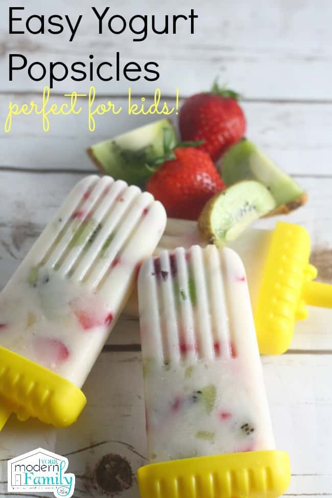Homemade strawberry yogurt popsicles are the perfect summer treat for adults and kids!