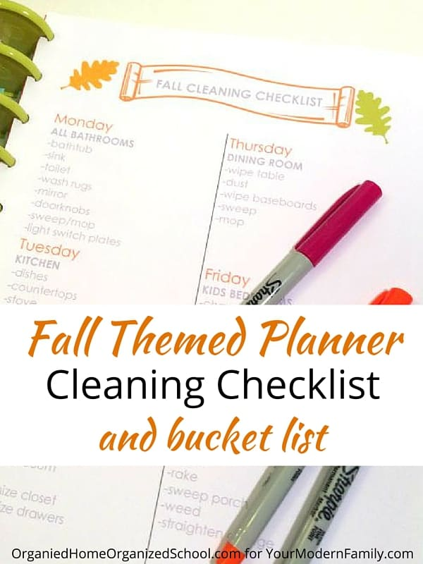 Fun fall themed planner printables will help you keep track of the busy holiday season. Two-page weekly planner pages, a fall cleaning checklist, and a BONUS - a fall bucket list to write down everything you want to do before the end of the year!