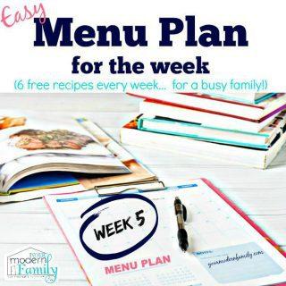 Free easy Menu Plan week 5