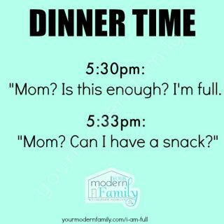 I am full – can I have a snack?