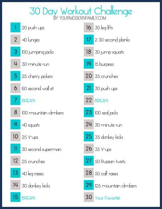 30 Day Workout Challenge YMF