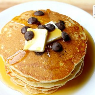 Pancakes with vinegar  (makes them fluffly!)