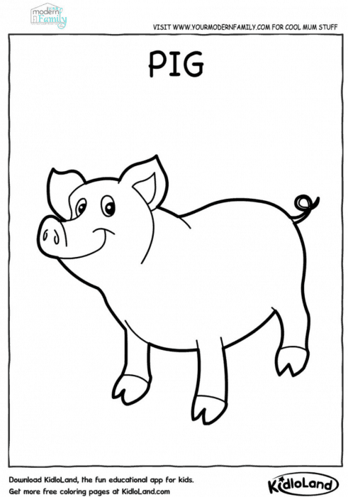 FREE farm animals printable coloring