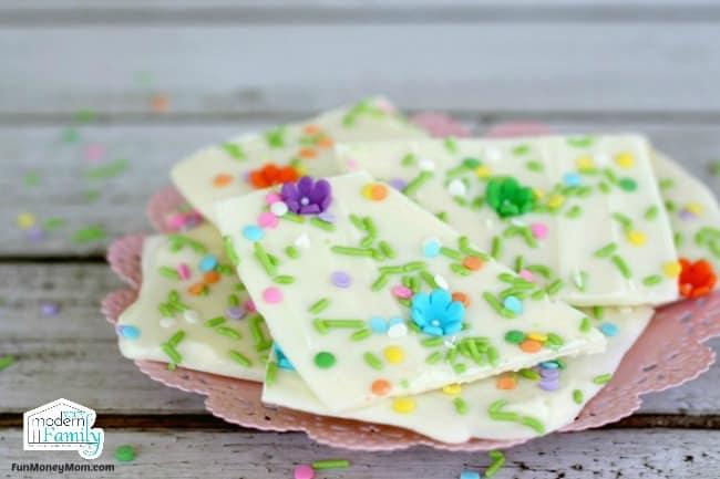 Springtime Inspired White Chocolate Bark