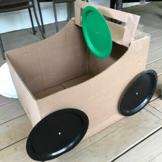 DIY cardboard box cars and movie night