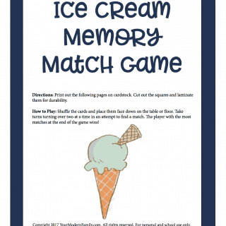 Ice Cream Memory Match Game