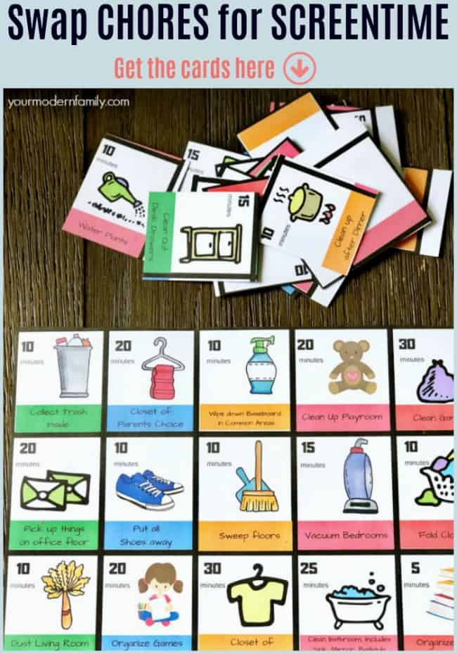 chores for screentime cards